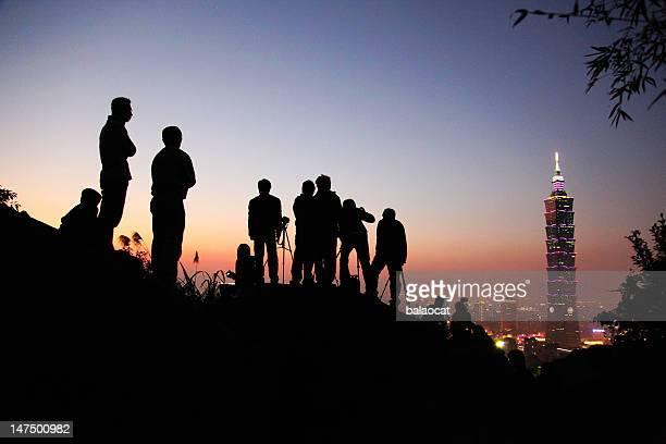 Taipei city at sunset