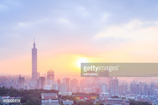 Taipei city during sunset