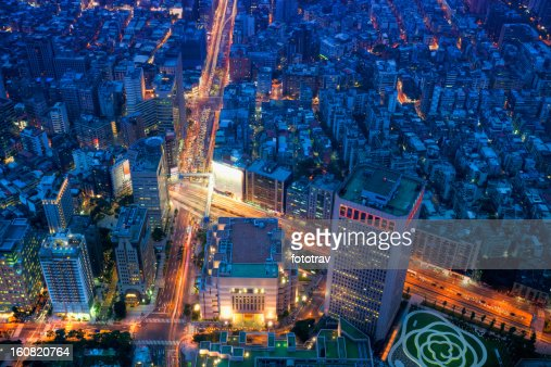 Taipei city night skyline, Taiwan cityscape