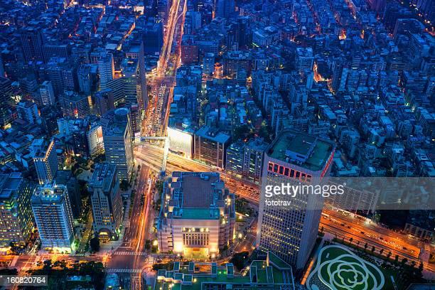 Vue de nuit de Taipei, Taiwan de la ville