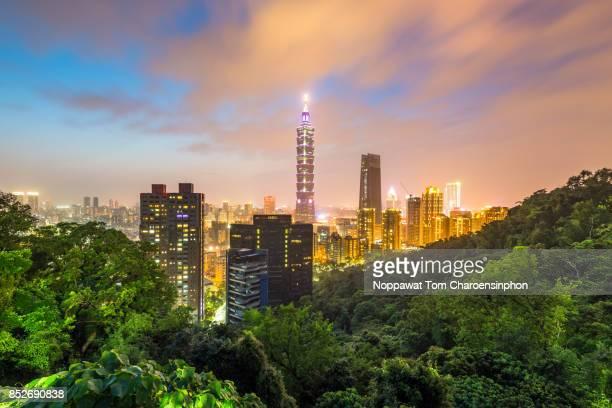 Taipei skyline at dusk