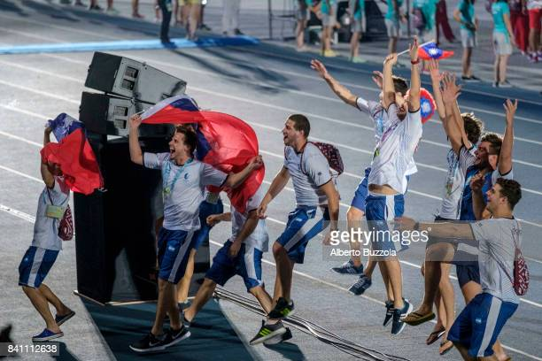 Taipei Universiade 2017 Argentinians athletes that took part at the Universiade sport event flying cheerfully the ROC flag Taiwan in the Taipei Arena...