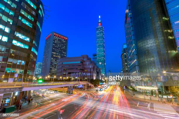 Taipei World Trade Center and Taipei 101 in Xinyi Business District