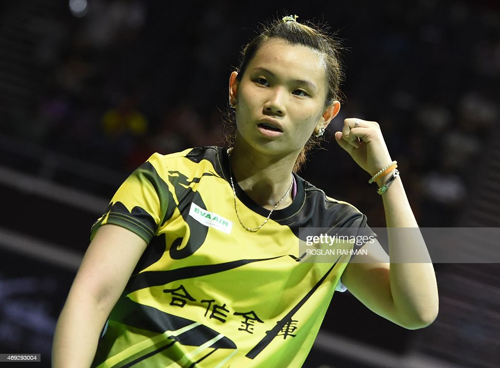 Taipei's <a gi-track='captionPersonalityLinkClicked' href=/galleries/search?phrase=Tai+Tzu+Ying&family=editorial&specificpeople=7058950 ng-click='$event.stopPropagation()'>Tai Tzu Ying</a> celebrates after defeating against China's Wang Yihan in their women's single semi-finals of the Singapore Open on April 11, 2015.