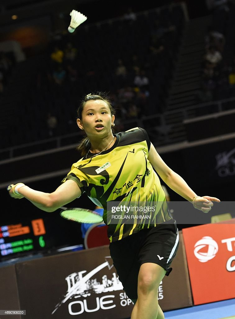 Taipei's <a gi-track='captionPersonalityLinkClicked' href=/galleries/search?phrase=Tai+Tzu+Ying&family=editorial&specificpeople=7058950 ng-click='$event.stopPropagation()'>Tai Tzu Ying</a> plays against China's Wang Yihan in their women's single semi-finals of the Singapore Open on April 11, 2015.