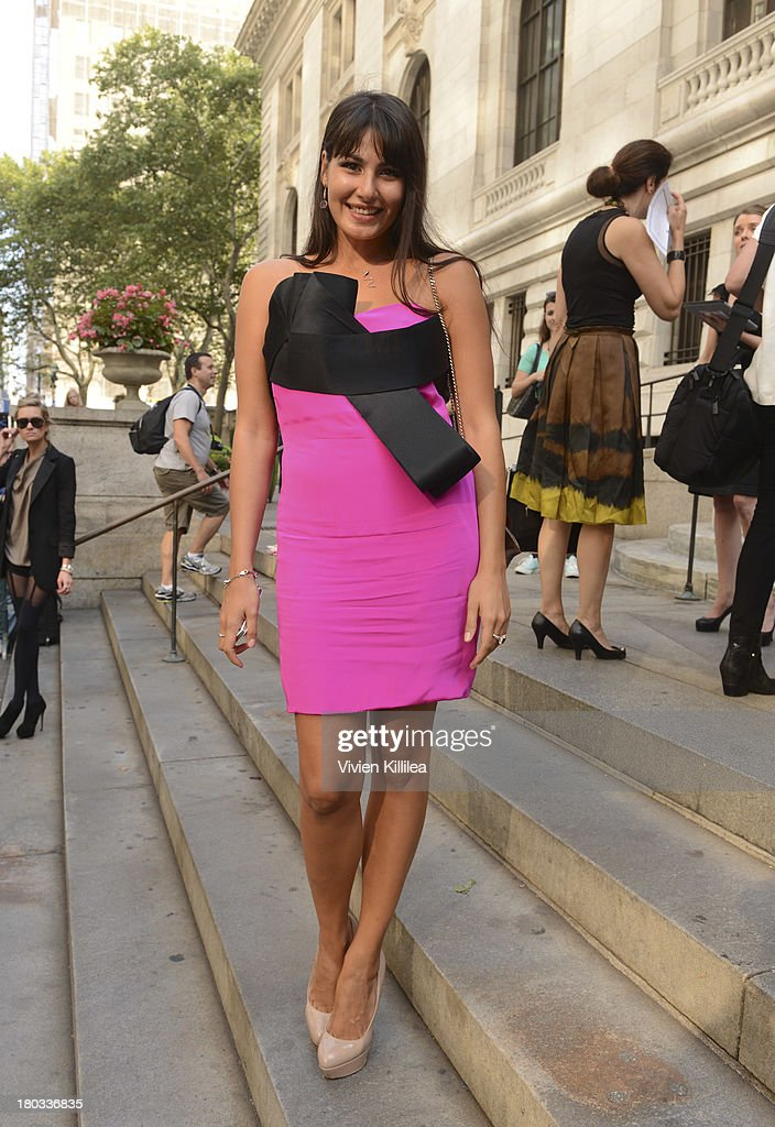 Taira arrives at the Marchesa runway show during Mercedes-Benz Fashion Week Spring 2014 at The New York Public Library on September 11, 2013 in New York City.