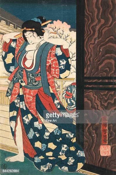Taiso Yoshitoshi 18391892Mage o naosu yujo Date Created/Published 1860 Color woodcut print 368 x 243 cm One panel of a vertical Oban Nishikie triptych