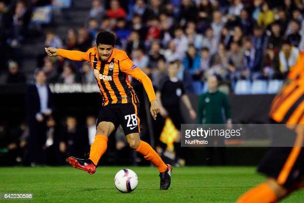 Taison Barcellos midfielder of Shakhtar Donetsk shoots on goal during the UEFA Europa League Round of 16 first leg match between Celta de Vigo and...