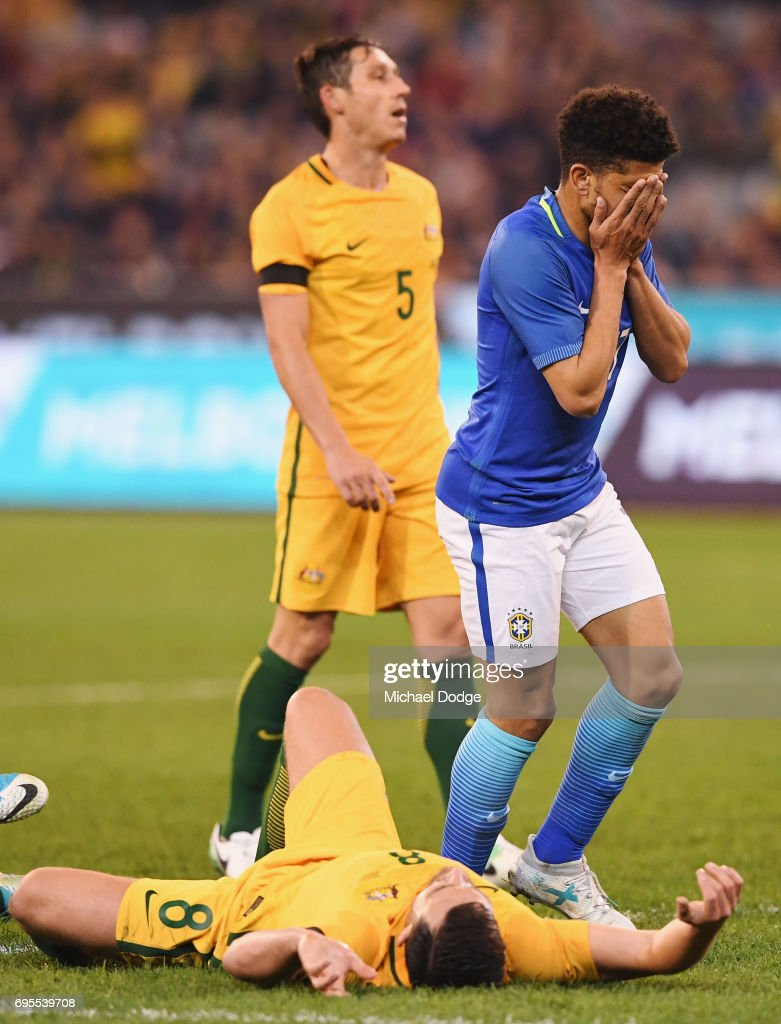 Taison Freda of Brazil celebrates a goal during the Brasil Global Tour match between Australian Socceroos and Brazil at Melbourne Cricket Ground on June 13, 2017 in Melbourne, Australia.