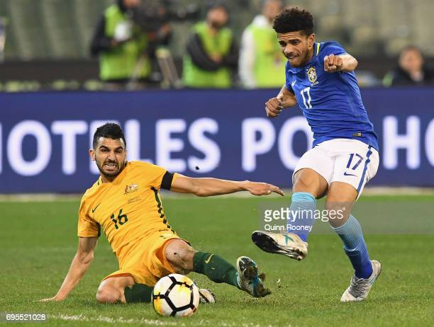 Taison Freda of Brazil scores a goal during the Brazil Global Tour match between Australian Socceroos and Brazil at Melbourne Cricket Ground on June...