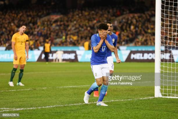 Taison Freda scores Brazil's 3rd goal as they play Australia in the Chevrolet Brasil Global Tour on June 13 2017 in Melbourne Australia Chris Putnam...