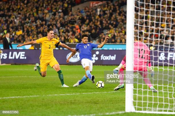 Taison Freda shoots during play as Brazil plays Australia in the Chevrolet Brasil Global Tour 2017 on June 13 2017 in Melbourne Australia Chris...