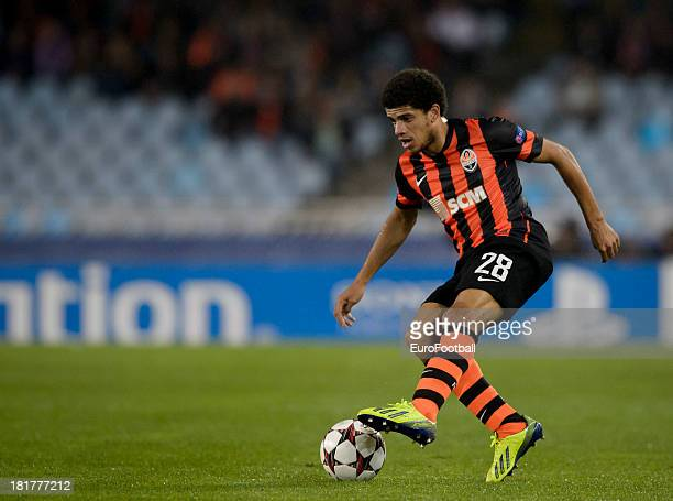 Taison of FC Shakhtar Donetsk in action during the UEFA Champions League group stage match between Real Sociedad de Futbol and Shakhtar Donetsk held...