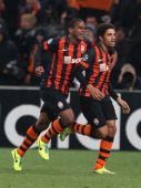 Taison of Shakhtar Donetsk celebrates scoring their first goal during the UEFA Champions League Group A match between Shakhtar Donetsk and Manchester...
