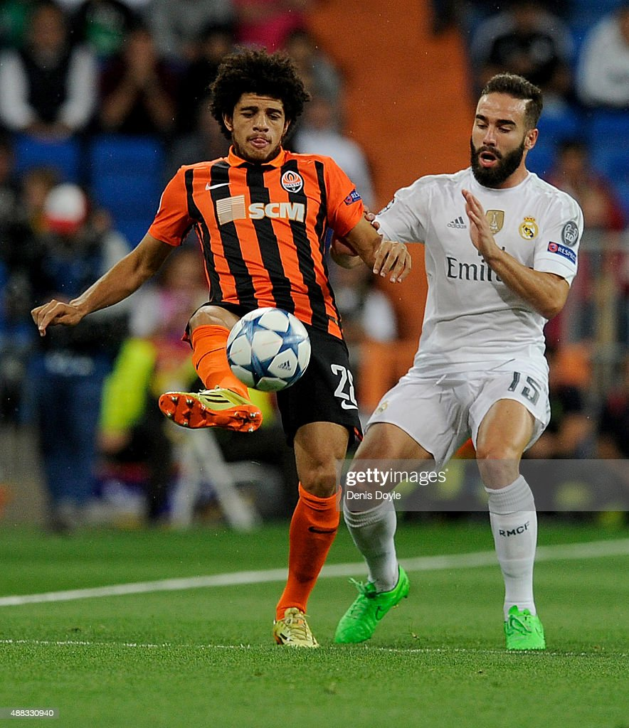 <a gi-track='captionPersonalityLinkClicked' href=/galleries/search?phrase=Taison&family=editorial&specificpeople=5613080 ng-click='$event.stopPropagation()'>Taison</a> of Shakhtar Donetsk is tackled by Dani Carvaja of Real Madrid during the UEFA Champions League Group A match between Real Madrid and Shakhtar Donetsk at estadio Santiago Bernabeu on September 15, 2015 in Madrid, Spain.