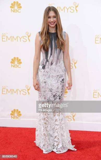 Taissa Farmiga arriving at the EMMY Awards 2014 at the Nokia Theatre in Los Angeles USA