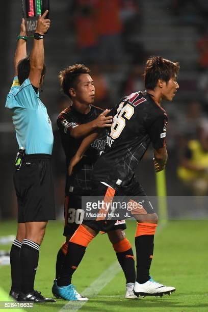 Taisuke Muramatsu of Shimizu SPulse is brought in for Shota Kaneko during the JLeague J1 match between Shimizu SPulse and Cerezo Osaka at IAI Stadium...