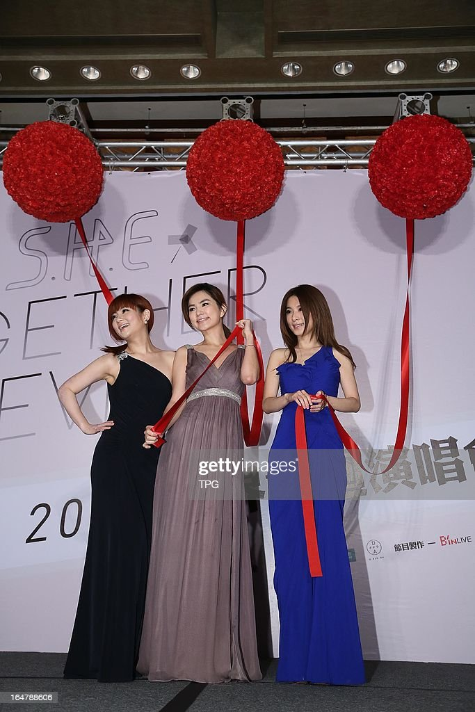 Taiwan girl group S.H.E at press conference to promote concert 'TOGETHER FOREVER WORLD TOUR' on Thursday March 28,2013 in Taipei Taiwan,China.