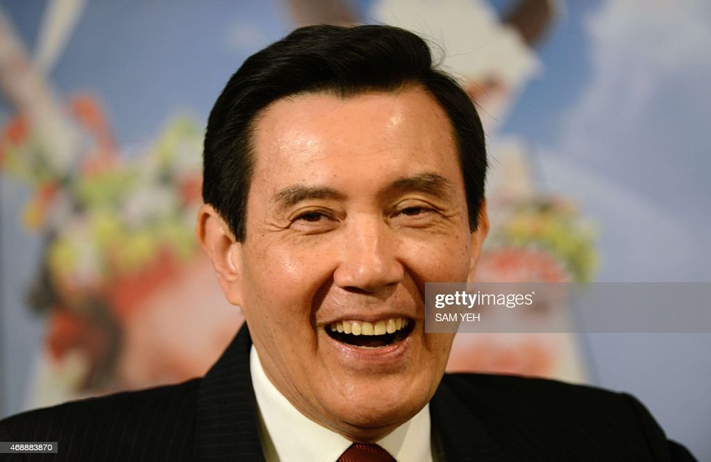 Taiwan President Ma Ying-jeou smiles as he speaks to members of the Taiwan Foreign Correspondent Club (TFCC) in Taipei on April 8, 2015. Taiwan's embattled President Ma Ying-jeou said ties with China are 'back to normal' after major protests against a trade pact with Beijing last year, despite continued public unease over mainland influence. AFP PHOTO / Sam Yeh