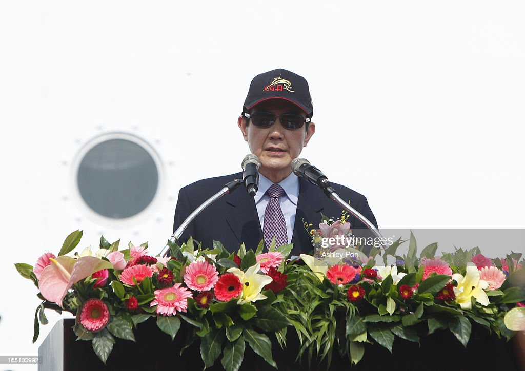 Taiwan president Ma Ying-jeou speaks during the Xin Bei Ship commissioning ceremony on March 30, 2013 in Kaohsiung, Taiwan. President Ma Ying-jeou has unveiled two new ships that will patrol the waters off the disputed islands in the East China Sea at the centre of a current regional territorial row.