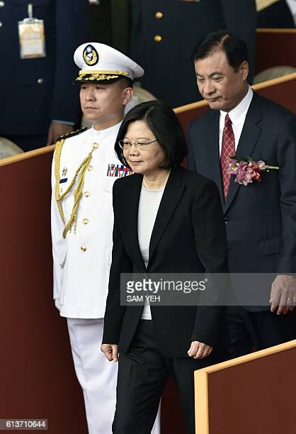 Taiwan President Tsai Ingwen arrives for National Day celebrations in front of the Presidential Palace in Taipei on October 10 2016 Taiwanese...