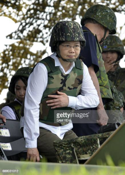 Taiwan President Tsai Ingwen gestures during the 'Han Kuang' lifefire drill some 7 kms from the city of Magong on the outlying Penghu islands on May...