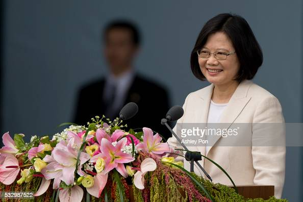 Taiwan President Tsai Ingwen smiles at the crowd on May 20 2016 in Taipei Taiwan Taiwan's new president Tsai Ingwen took oath of office on May 20...