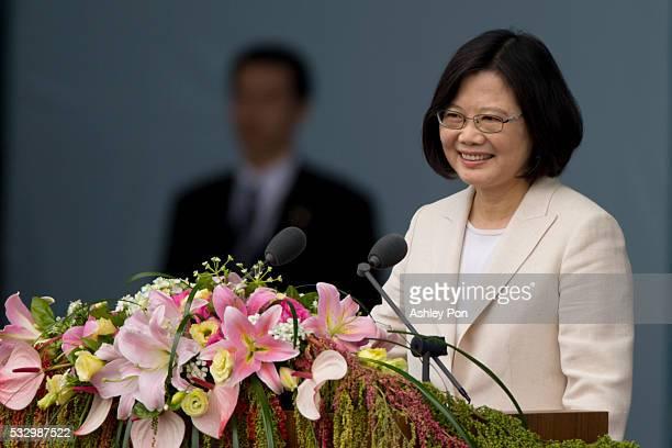 Taiwan President Tsai Ingwen smiles at the crowd on May 20 2016 in Taipei Taiwan Taiwan's new president Tsai Ingwen took oath of office on May 20...