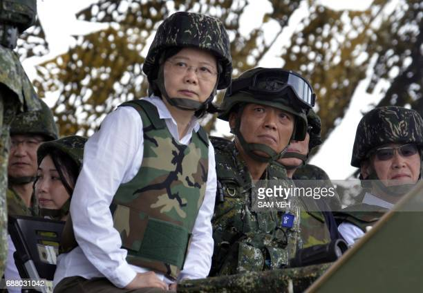 Taiwan President Tsai Ingwen watches during the 'Han Kuang' lifefire drill some 7 kms from the city of Magong on the outlying Penghu islands on May...
