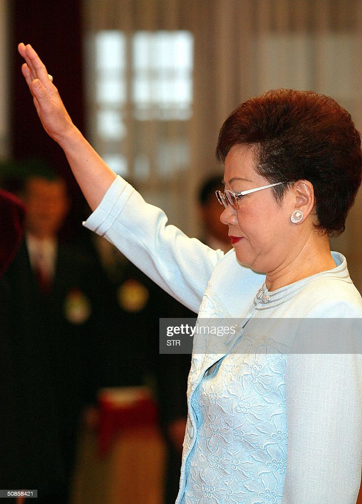 Taiwan Vice President Annette Lu swears in at the presidential palace in Taipei, 20 May 2004. Chen, who has infuriated China with his vision of an independent Taiwan, defeated Nationalist leader Lien Chan by a razor-thin 0.2 percent in the March 20 election, a day after the incumbent was lightly wounded in a mysteroius assassination attempt.