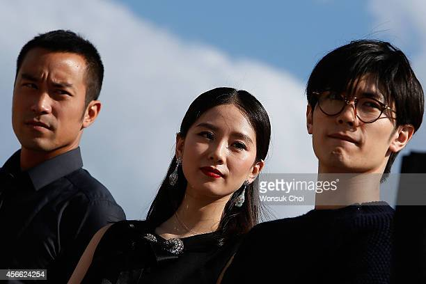 Taiwanese actor Hsiao Chuan Chang Chinese actress Liu ShiShi and Japanese actor Haruma Miura attend the press conference 'Special Encounter of...