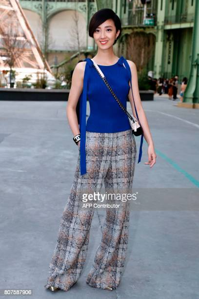 Taiwanese actress Gwei LunMei poses during the photocall before Chanel 20172018 fall/winter Haute Couture collection show in Paris on July 4 2017 /...