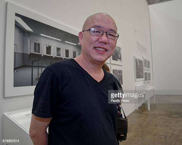 ISLAND SYDNEY NSW AUSTRALIA Taiwanese artist Chen Chiehjen poses with his artworks at Carriageworks Embassy of Disappearance during the media preview...