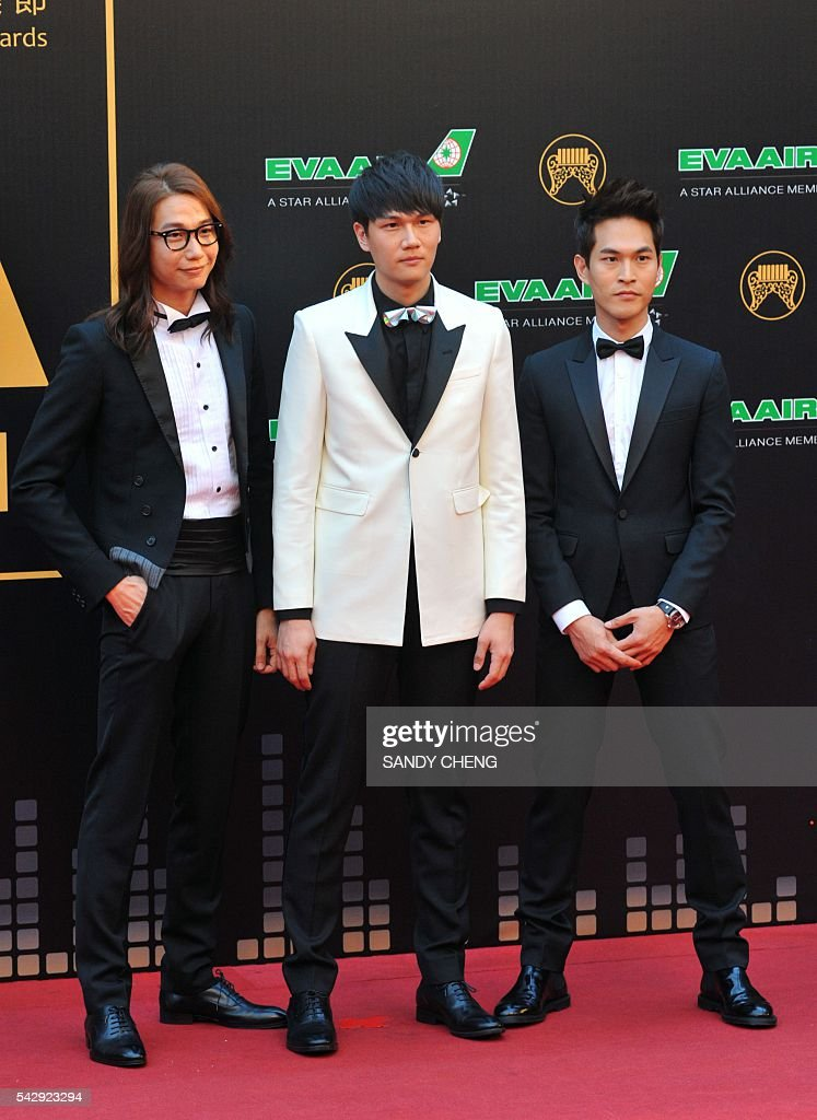 Taiwanese band Cosmospeople arrives to attend the 27th Golden Melody Awards in Taipei on June 25, 2016. Some of Mandarin pop's biggest names have gathered for the annual Golden Melody music awards, with singers, songwriters and composers from Taiwan, China, Hong Kong, Singapore and Malaysia competing in more than 20 categories. / AFP / SANDY