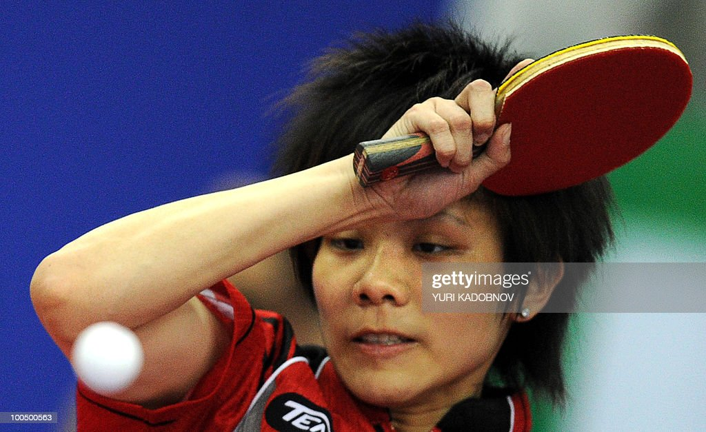Taiwanese Cheng I-Ching returns a service to Japanese Ai Fukuhara on May 25, 2010 during their match at the 2010 World Team Table Tennis Championships in Moscow.