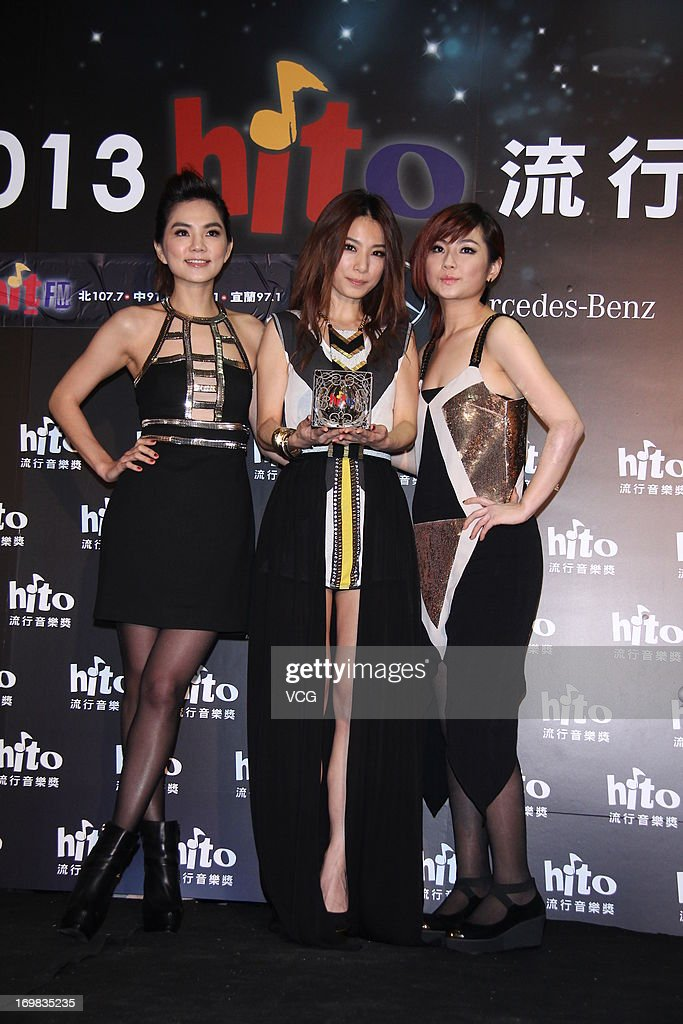 Taiwanese girl group S.H.E attend 2013 Hito Music Awards at Taipei Arena on June 2, 2013 in Taipei, Taiwan.