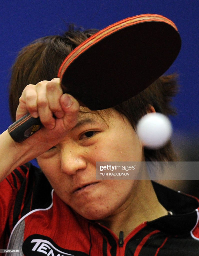 Taiwanese Huang Yi-Hua returns the ball to Japanese Sayaka Hirano on May 25, 2010 during their match at the 2010 World Team Table Tennis Championships in Moscow.