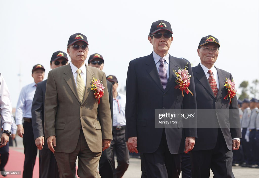 Taiwanese president <a gi-track='captionPersonalityLinkClicked' href=/galleries/search?phrase=Ma+Ying-jeou&family=editorial&specificpeople=539998 ng-click='$event.stopPropagation()'>Ma Ying-jeou</a> walks toward the Xin Bei ship on March 30, 2013 in Kaohsiung, Taiwan. President <a gi-track='captionPersonalityLinkClicked' href=/galleries/search?phrase=Ma+Ying-jeou&family=editorial&specificpeople=539998 ng-click='$event.stopPropagation()'>Ma Ying-jeou</a> has unveiled two new ships that will patrol the waters off the disputed islands in the East China Sea at the centre of a current regional territorial row.