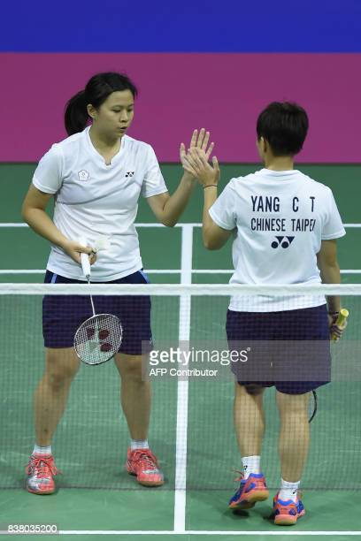 Taiwan's Ching Yao Lu and Taiwan's Po Han Yang celebrate a point against Russia's Konstantin Abramov and Russia's Alexandr Zinchenko during their...