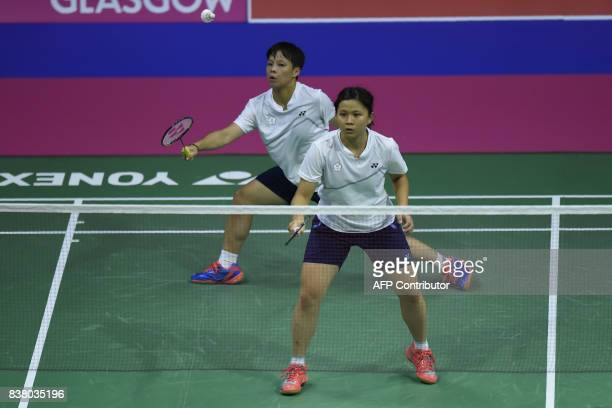 Taiwan's Ching Yao Lu waits and Taiwan's Po Han Yang returns to Russia's Konstantin Abramov and Russia's Alexandr Zinchenko during their round two...