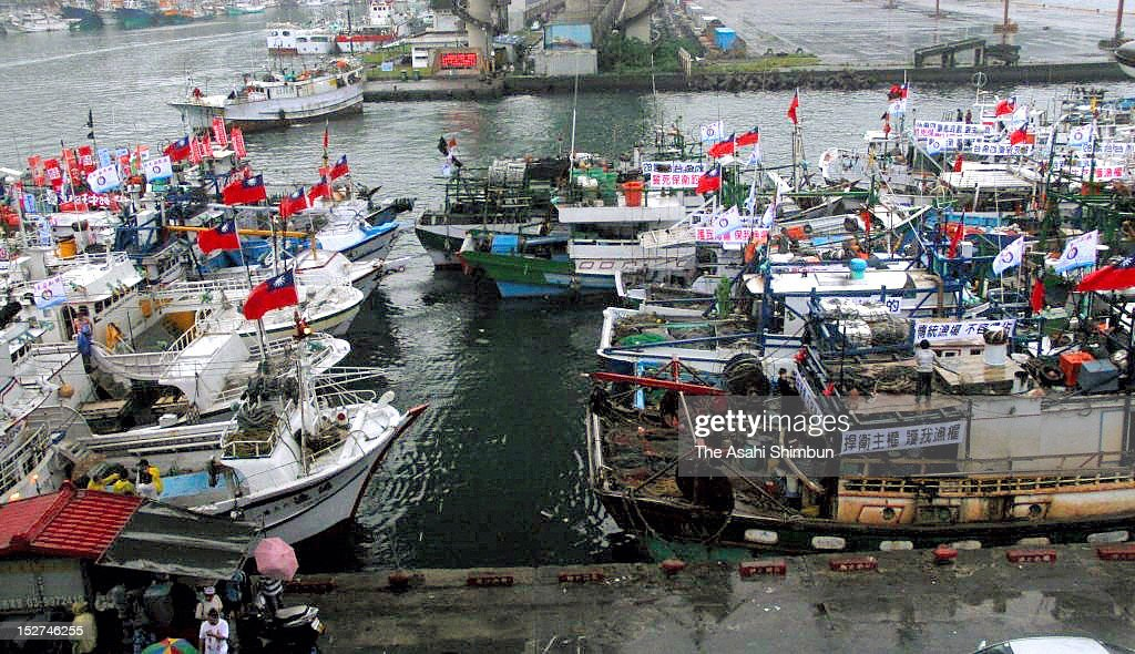 Taiwan's fish boats prepares to leave toward disputed Senkaku islands from a Suao Port on September 24 2012 in Suao Taiwan The tension on the islets...