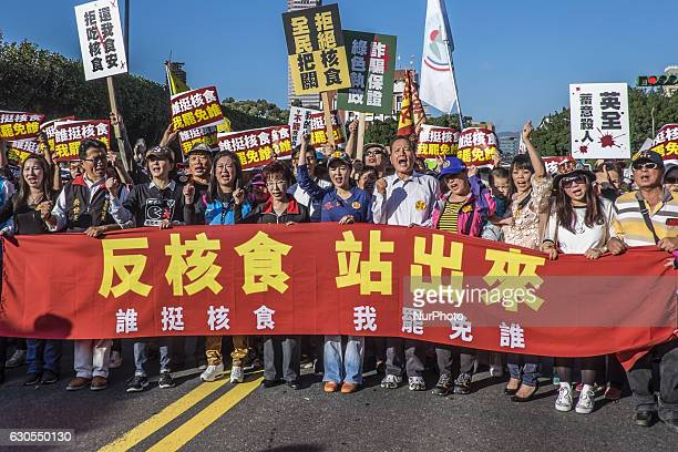 Taiwan's opposition Kuomintang leader Hung Hsiuchu during rally in Taipei Taiwan on 25 December 2016 to protest against the import of Food Product...