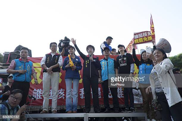 Taiwan's opposition Kuomintang leader Hung Hsiuchu speaks during rally in Taipei Taiwan on 25 December 2016 to protest against the import of Food...