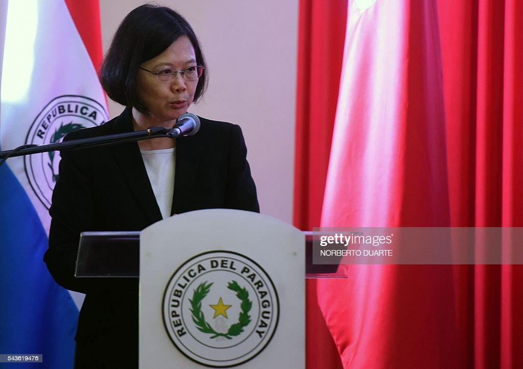 Taiwan's President Tsai Ing-wen delivers a speech during her visit to the General Andres Rodriguez school to which the country donated computers, in Asuncion on June 29, 2016. Taiwan's new president is visiting Paraguay as part of her first overseas trip since taking office in May. / AFP / NORBERTO