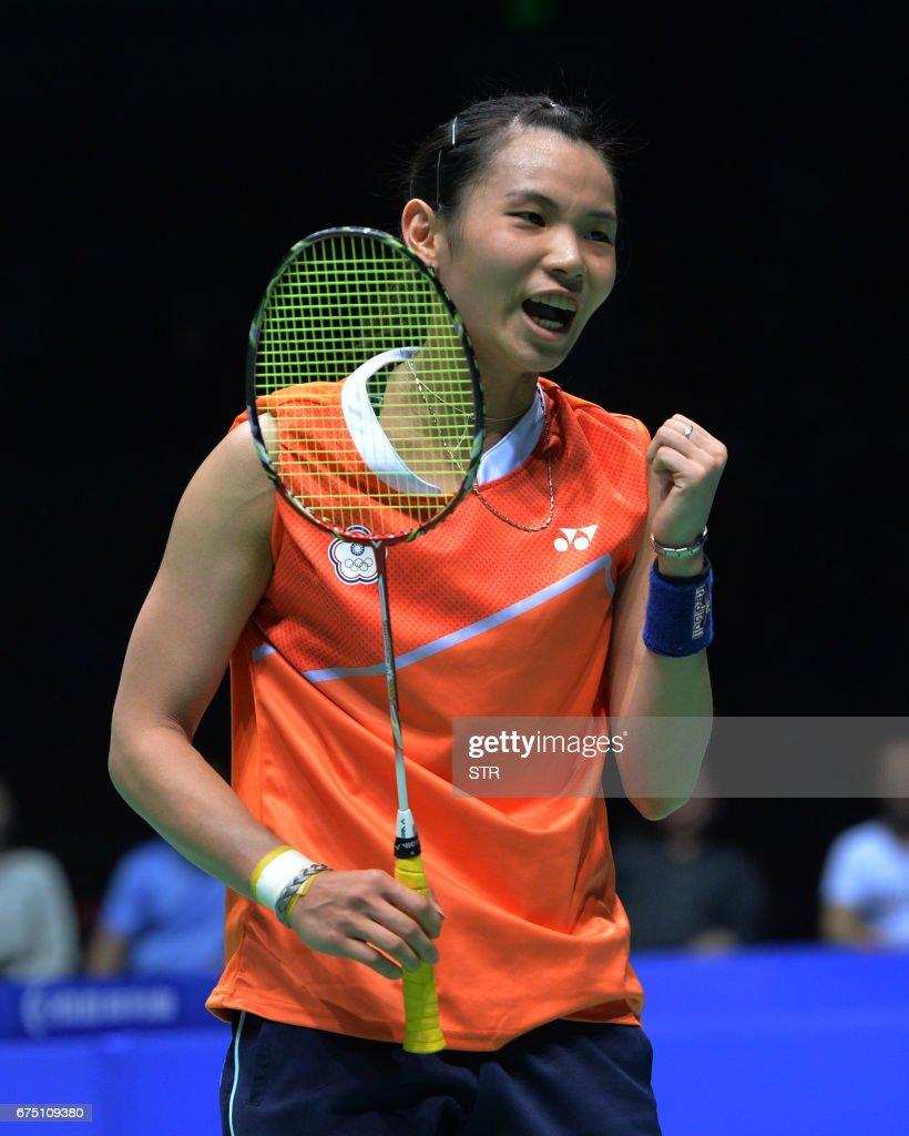 Taiwan s Tai Tzu ying celebrates during the women s singles final