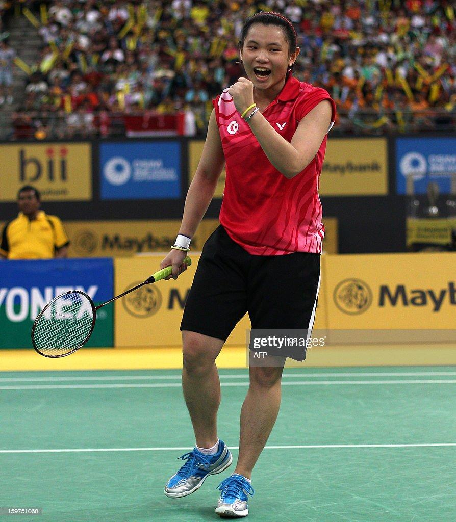 Taiwan's Tai Tzu-ying celebrates her victory over China's Yao Xue in the woman's singles final at the Malaysia Open Badminton Superseries in Kuala Lumpur on January 20, 2013. AFP PHOTO / MOHD RASFAN