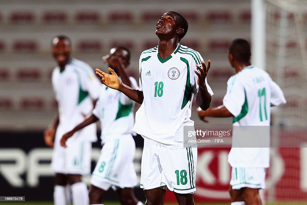 Taiwo Awoniyi of Nigeria celebrates his team's first goal during the FIFA U-17 World Cup UAE 2013 Semi Final match between Sweden and Nigeria at Al Rashid Stadium on November 5, 2013 in Dubai, United Arab Emirates.