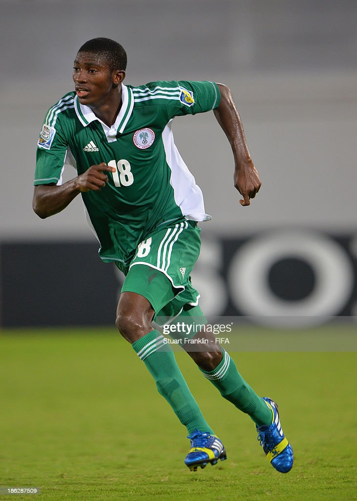 Taiwo Awoniyi of Nigeria in action during the round of 16 match between Nigeria and Iran at Khalifa Bin Zayed Stadium on October 29, 2013 in Al Ain, United Arab Emirates.
