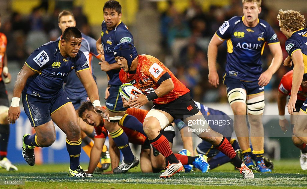Taiyo Ando of the Sunwolves runs the ball during the round 14 Super Rugby match between the Brumbies and the Sunwolves at GIO Stadium on May 28, 2016 in Canberra, Australia.