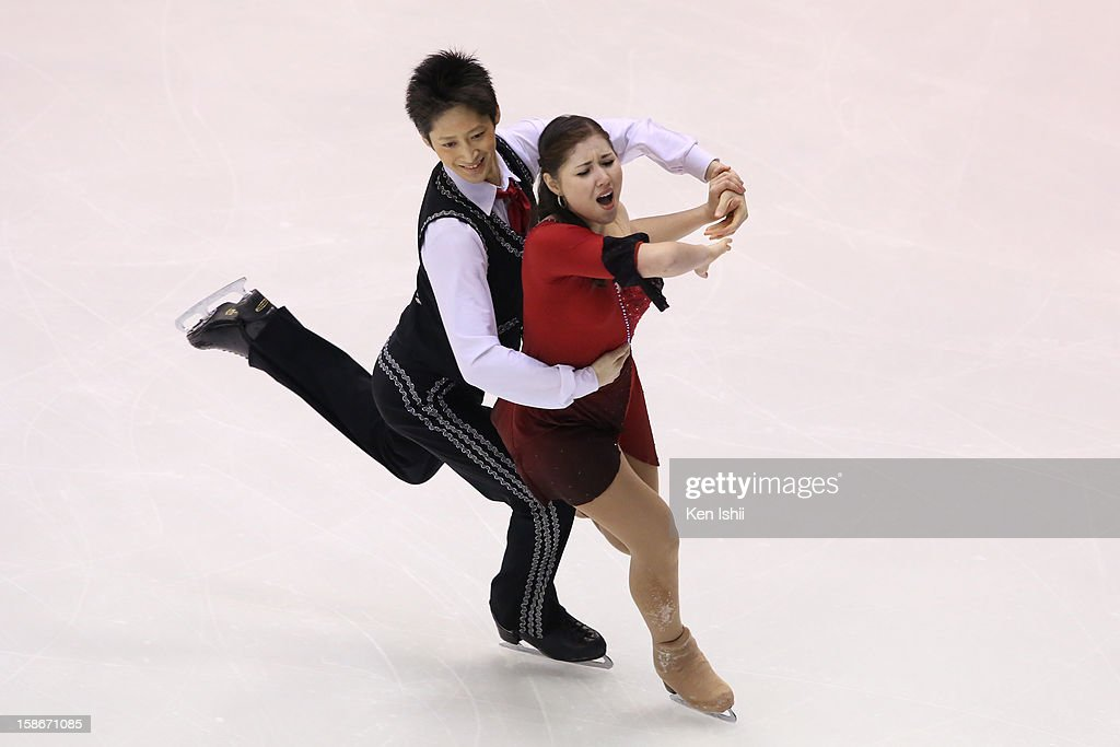 Taiyo Mizutani (L) and Bryna Oi perfom in the Ice Dance Free Dance during day three of the 81st Japan Figure Skating Championships at Makomanai Sekisui Heim Ice Arena on December 23, 2012 in Sapporo, Japan.